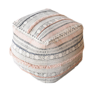 Blockprint Powder Pink Pouf Stools & Poufs