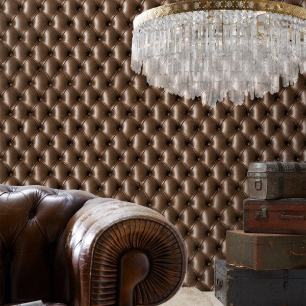 KOZIEL / Chocolate Brown Tufted Leather
