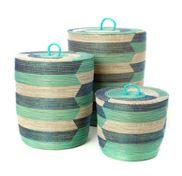 Cylinder Hamper Basket (Blue & Aqua)