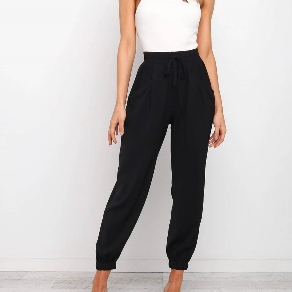 White Closet Dani Relaxed Pants in black from My Sister Elle Clothing