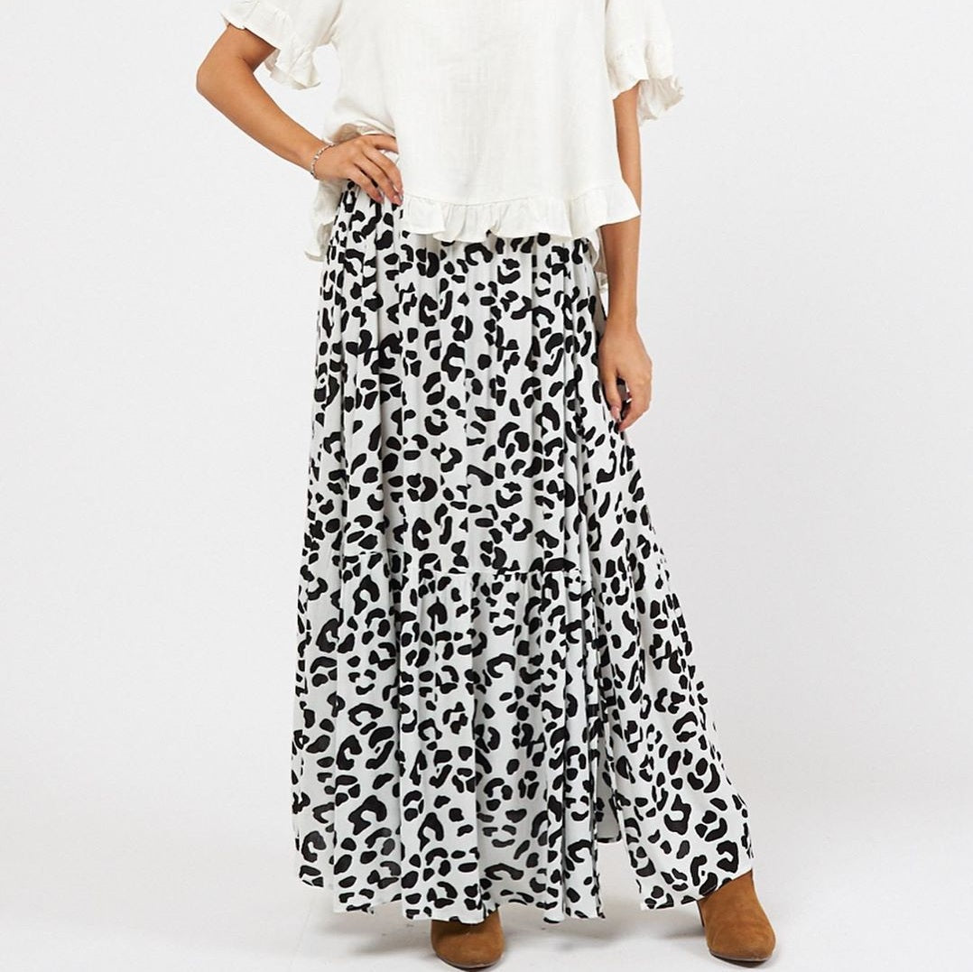 Label of Love Panther White Maxi Skirt-Bottoms-S-My_Sister_Elle