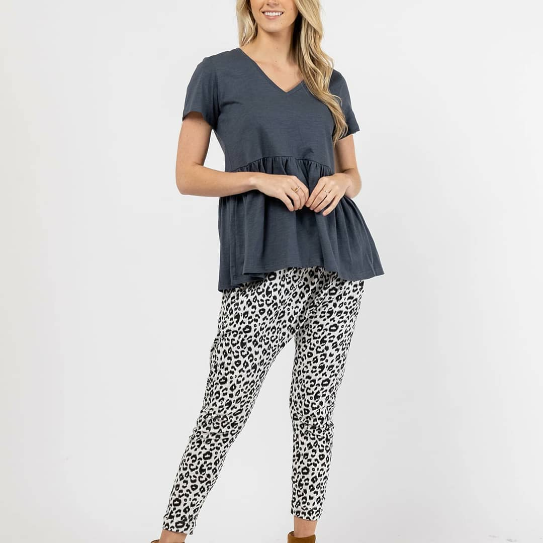 Ebby & I Willow Tee - Charcoal-Tops-S-My_Sister_Elle