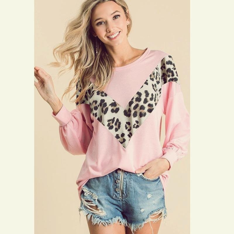 Taylor Leopard Pullover Blush from My Sister Elle Clothing