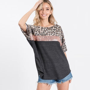 Marlow Leopard Sequin Tee - Charcoal-Tops-S-My_Sister_Elle