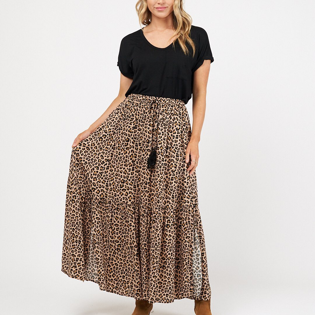 Label of Love Leopard Days Maxi Skirt