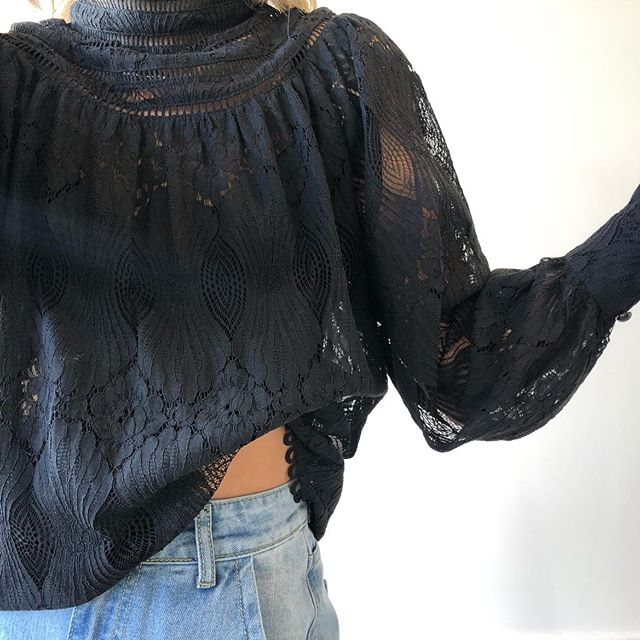 Woman wearing black Bagira Edwardian Lace Blouse Top from My Sister Elle clothing