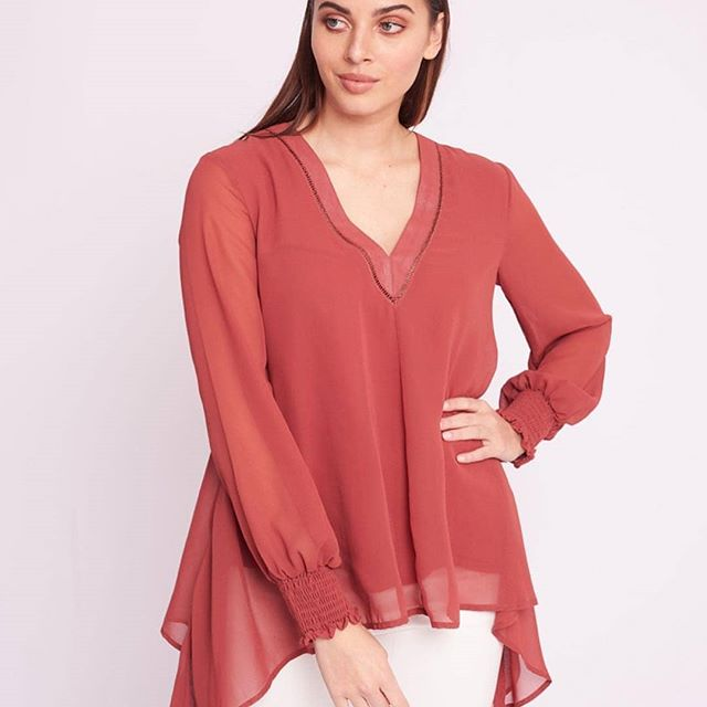 WHITE CLOSET HANNAH SHEER BLOUSE ROSE
