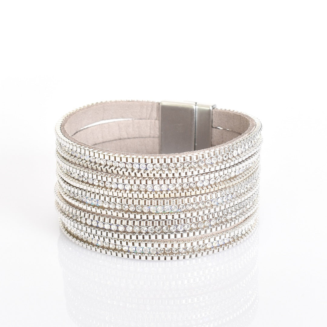 Adorne Silver Diamante Layers Wrap Cuff