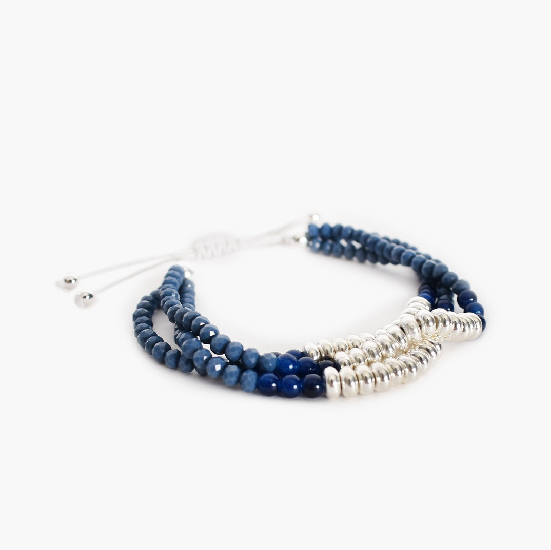 Adorne Trio Bead Adjustable Bracelet - Blue