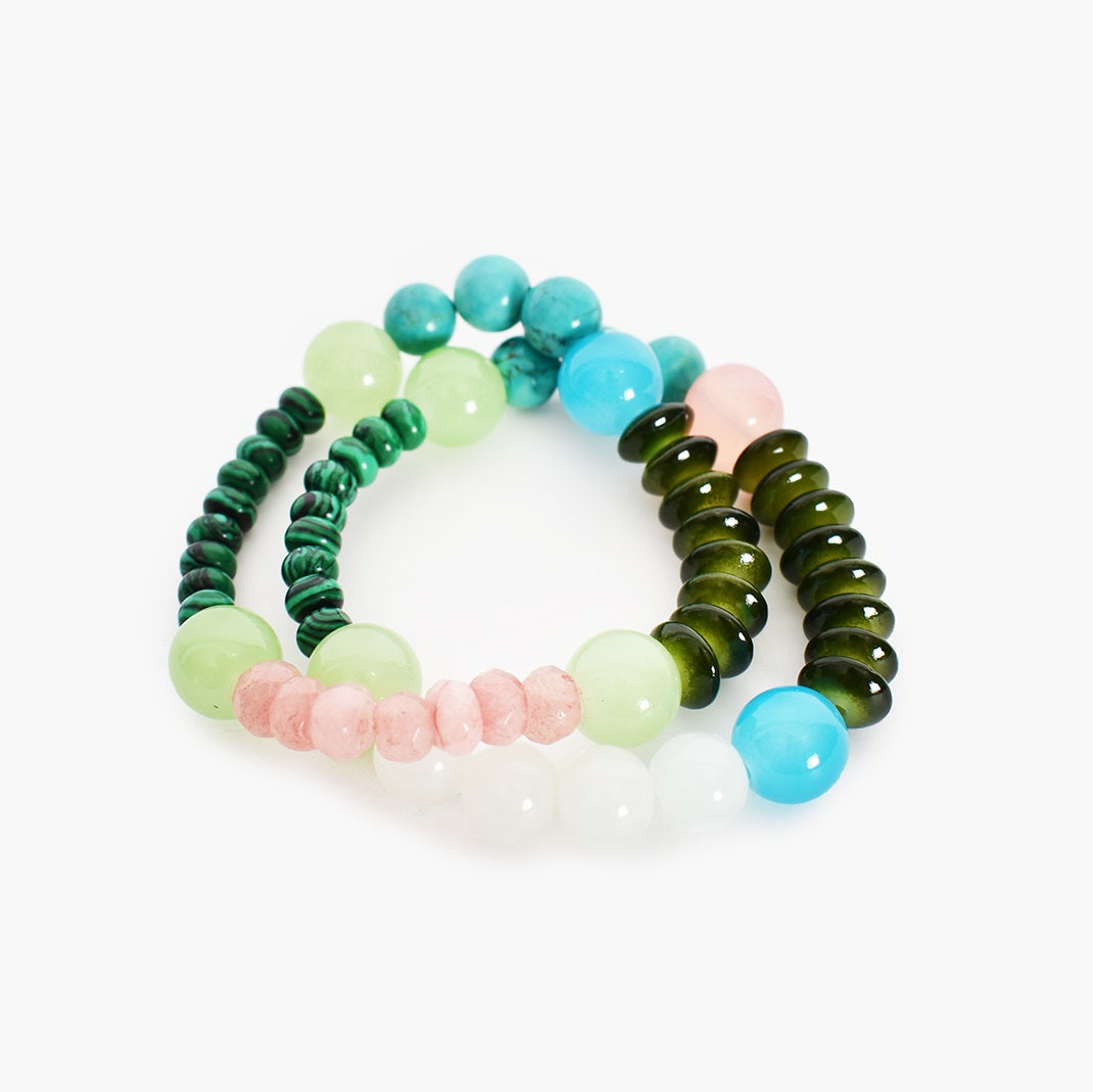 Adorne Pop of Colour Bead Mix Bracelet Duo Set - Green