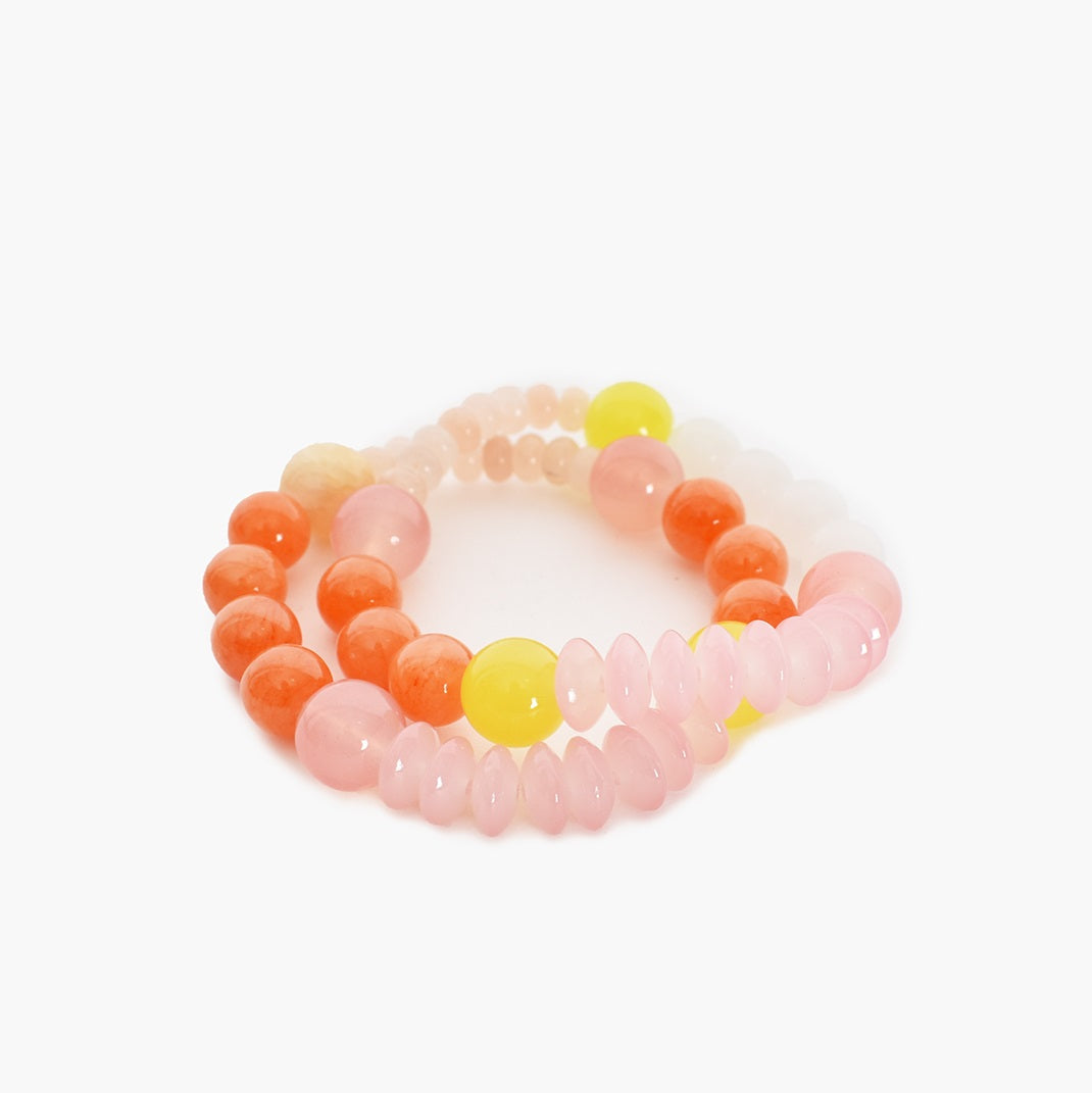 Adorne Pop of Colour Bead Mix Bracelet Duo Set - Pink