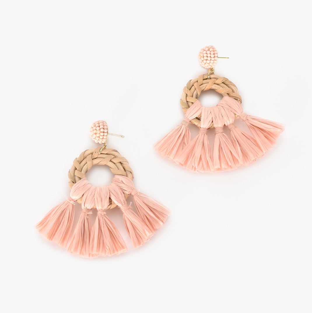 Adorne Mini Rattan Tassel Earrings - Pink/Natural