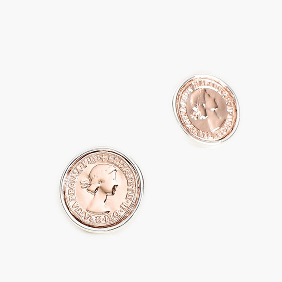 Adorne Two Tone Coin Stud Earrings