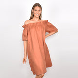 Adorne Maddie Off the Shoulder Dress in tan from my sister elle clothing