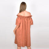 Adorne Maddie Off The Shoulder Linen Dress - Tan