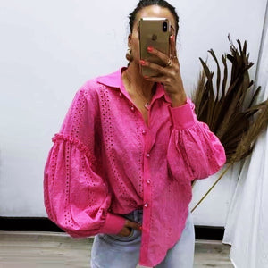 Aiyana Pearl Button Shirt - Hot Pink-Tops-6-My_Sister_Elle