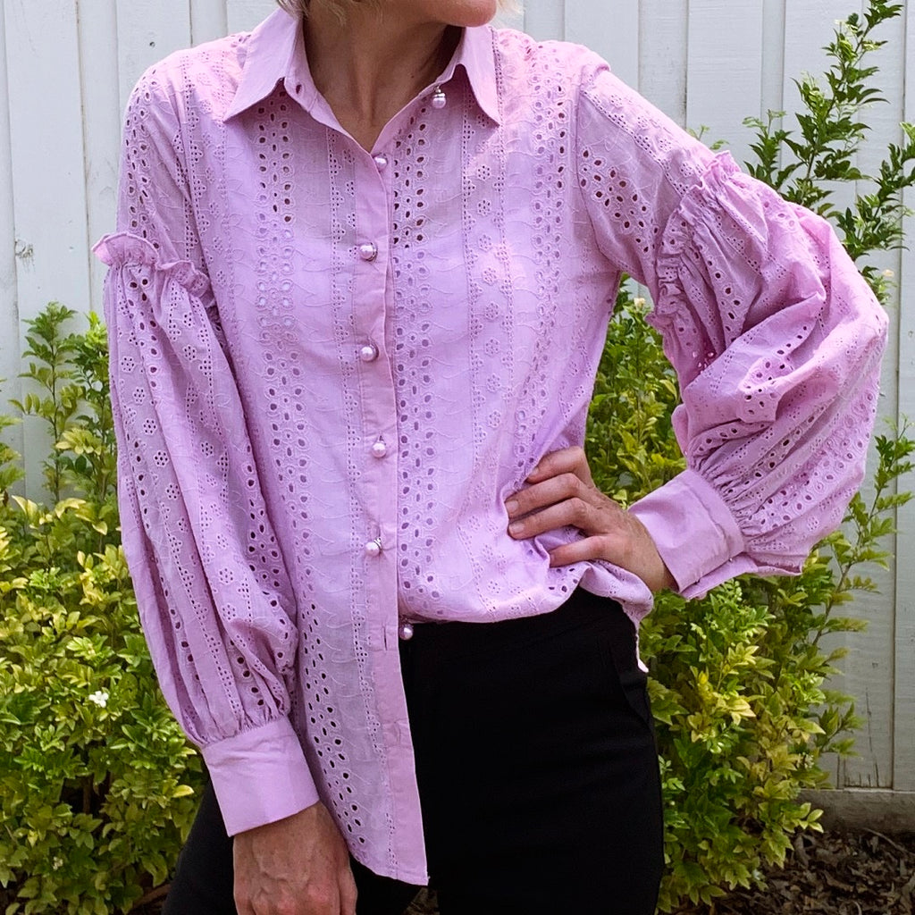 Aiyana Pearl Button Shirt Lilac from My Sister Elle Clothing