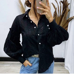 Aiyana Pearl Button Shirt - Black-Tops-6-My_Sister_Elle