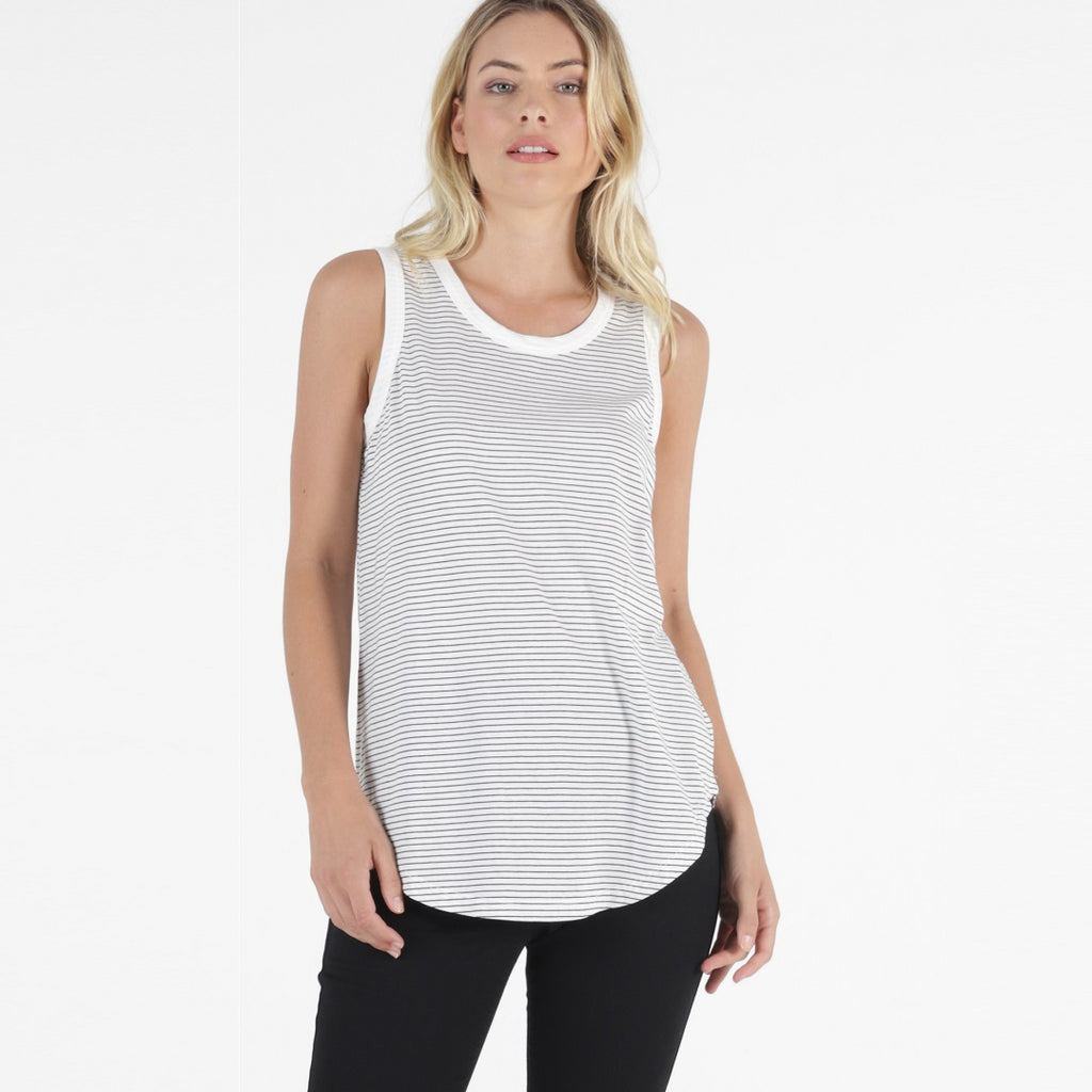 Betty Basics Keira Tank - Black/White Stripe-Tops-6-My_Sister_Elle