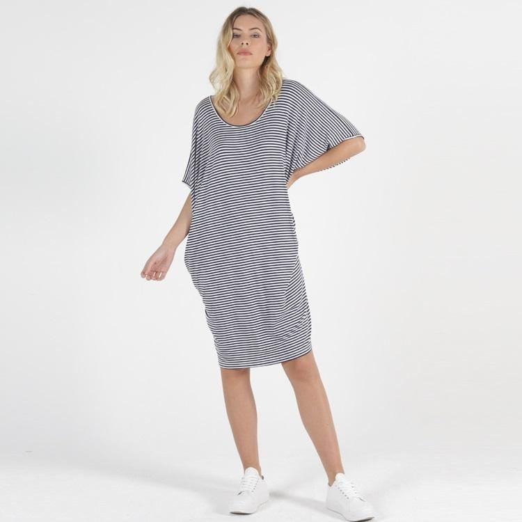 Betty Basics Maui Dress - Navy/White Stripe-Dress-6-My_Sister_Elle