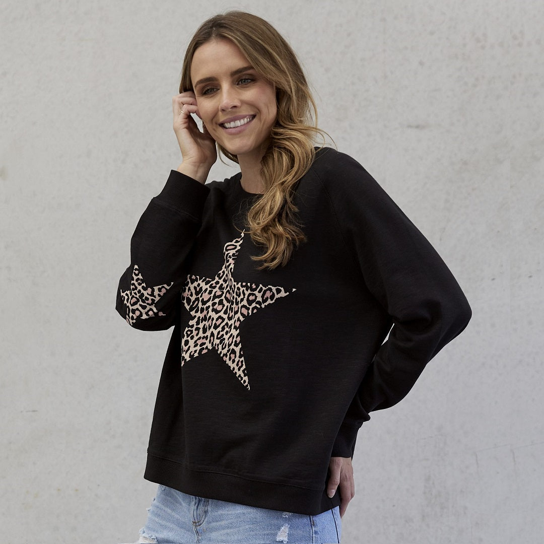 Jovie the Label Freedom Sweater Black Leopard From My Sister Elle Clothing