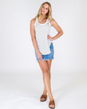 Woman wearing 3rd Story navy stripe Hamilton Tank from My Sister Elle clothing