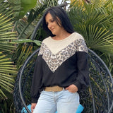 Melania Leopard Pullover Top - Black from My Sister Elle Clothing