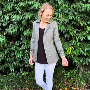 White SandStorm Military Blazer from My Sister Elle Clothing