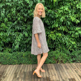 One Two Holly Linen Leopard Dress