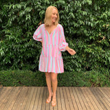 One Two Lana Linen Dress - Candy Stripe