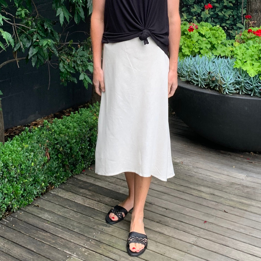 White Closet A-Line Midi Skirt from My Sister Elle Clothing