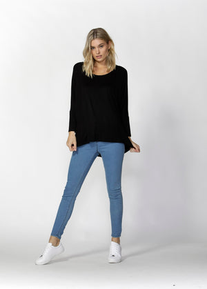 Woman wearing black Betty Basics Milan Top from My Sister Elle clothing