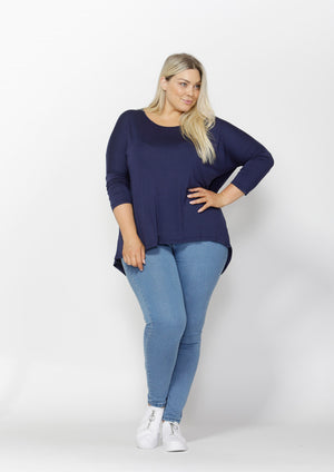 Woman wearing navy Betty Basics Milan Top from My Sister Elle clothing