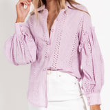 Aiyana Pearl Button Shirt - Lilac-Tops-6-My_Sister_Elle