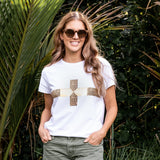 Stella + Gemma Cheetah Gold Cross Tee from My Sister Elle Clothing