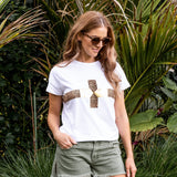 Stella & Gemma Cheetah Gold Cross Tee - White