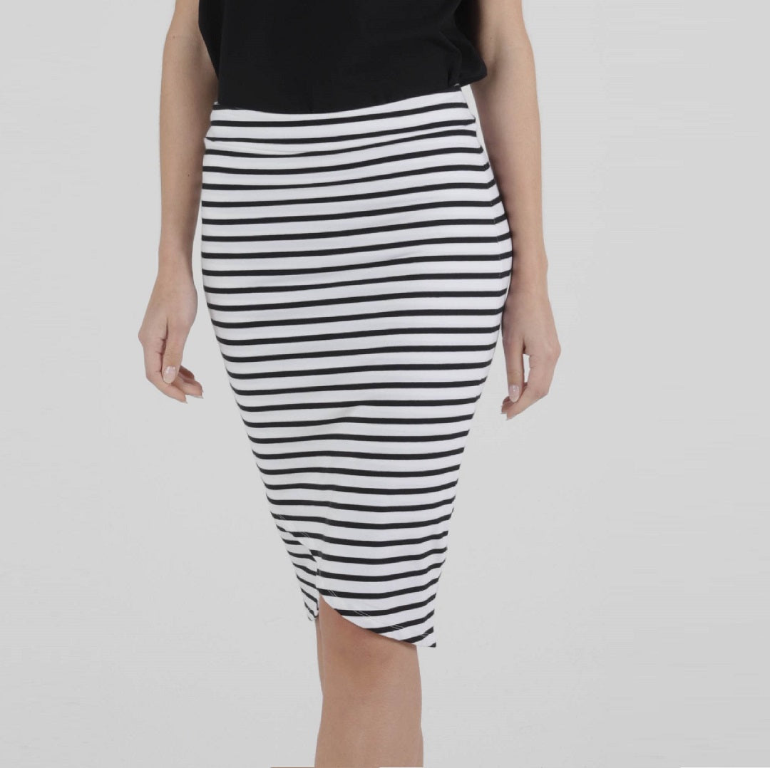 Betty Basics Siri Skirt - B/W Stripe