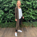 Silver Wishes Longline Khaki Cardigan from My Sister Elle Clothing