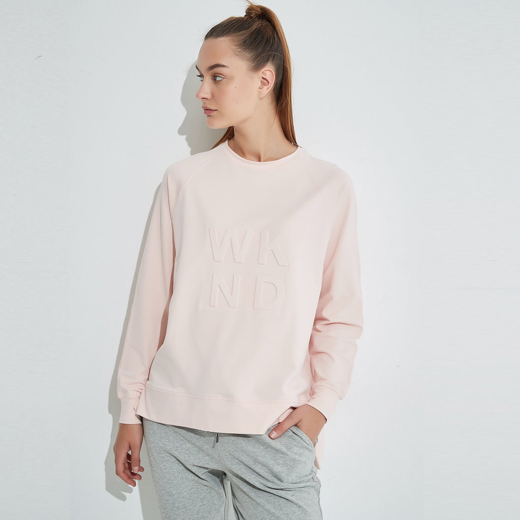 Tirelli WKND Embossed Sweater - Soft Pink-Tops-S-My_Sister_Elle