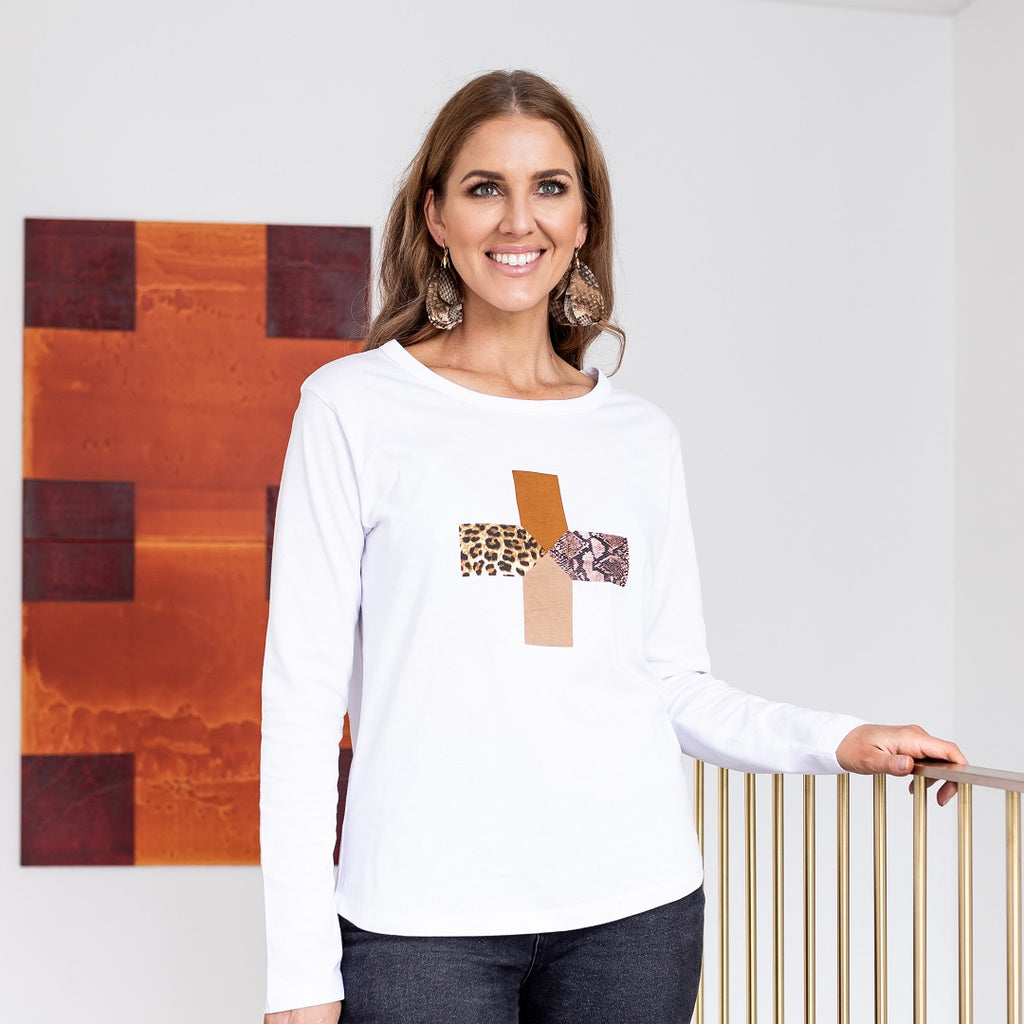 Stella + Gemma Safari Cross Long Sleeve Tee - White-Tops-S-My_Sister_Elle