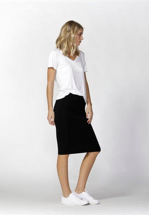 Woman wearing black Betty Basics Alicia Midi Skirt from My Sister Elle clothing