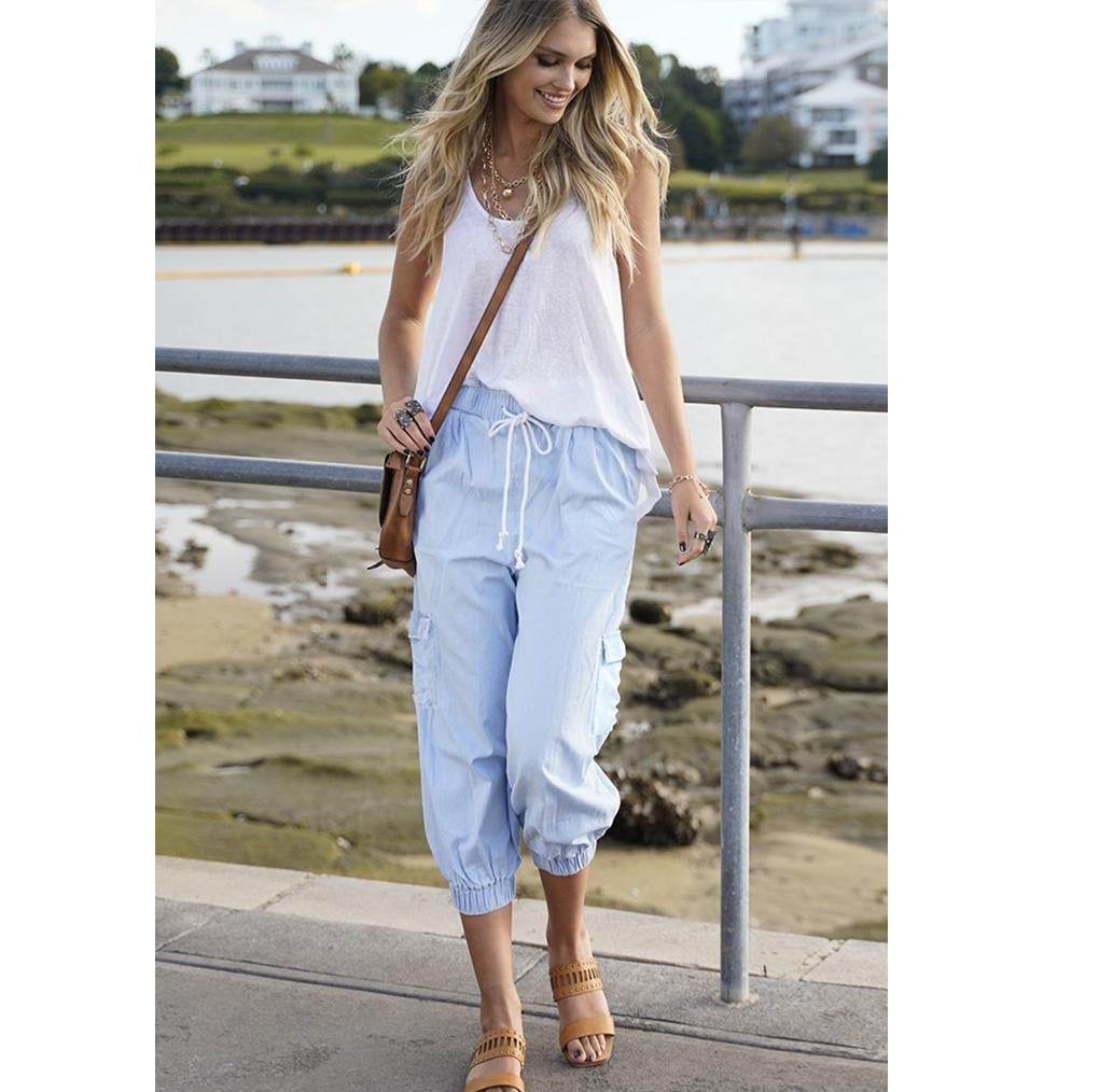 Refuge Keely Chambray Pants - Bleach