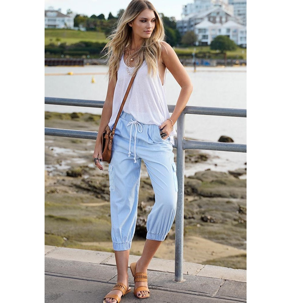 Refuge Chambray Pants from My Sister Elle Clothing