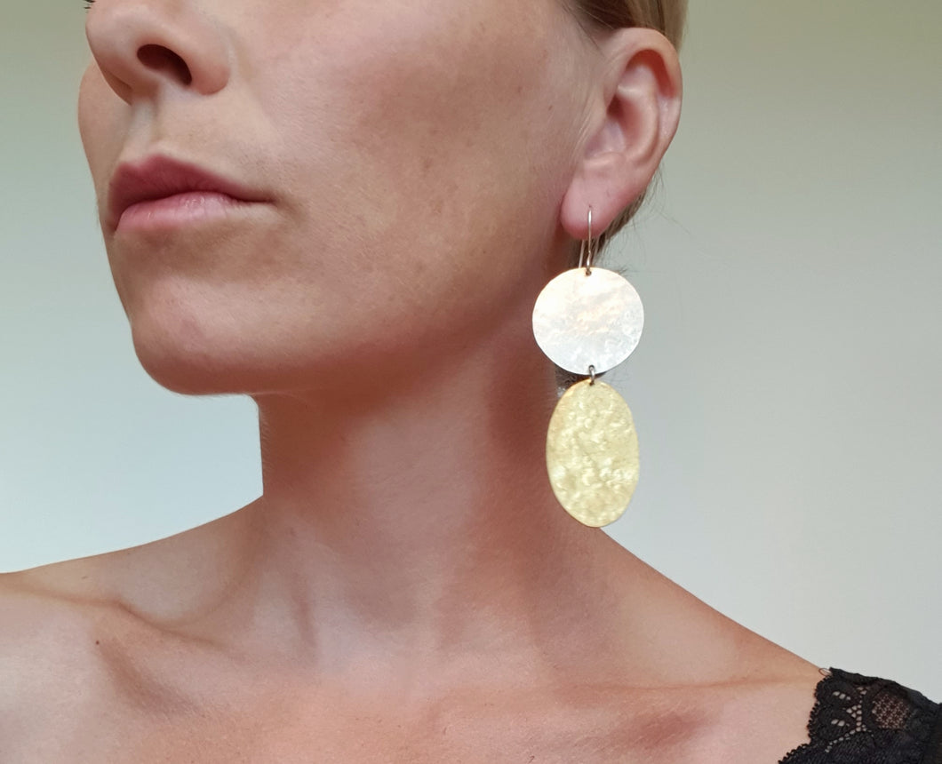 Texture earrings in silver and brass