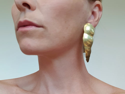 Bold earrings (long style) brass