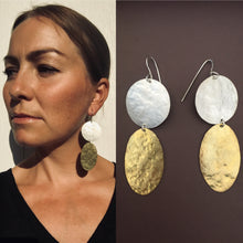 Load image into Gallery viewer, Texture earrings in silver and brass