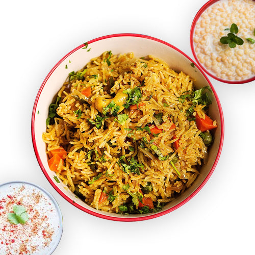 Masala Rice (Masala Bhaat) With Raita Or Chach - GharSe home cooked food