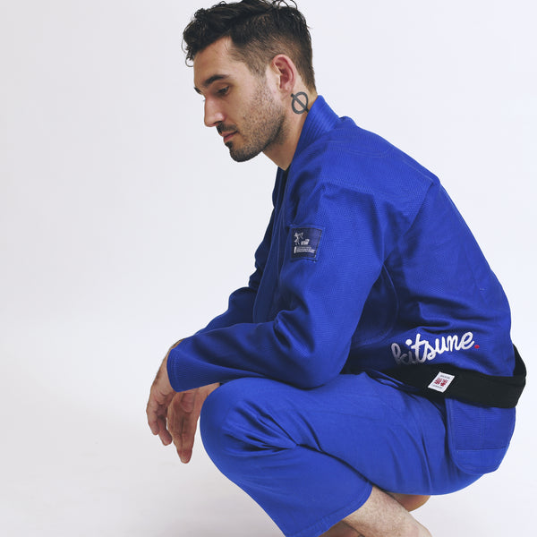 """Cursive""  Heavier Weight Blue BJJ Gi - Men's"