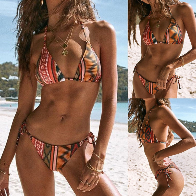 Abstract Patchwork Bikini