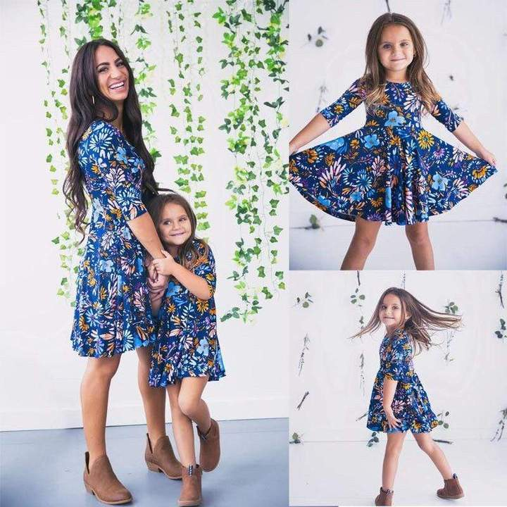 Family Matching Dress Boho Half Sleeves Floral